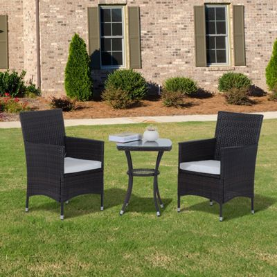 Outsunny 3PC Rattan Bistro Set Furniture Garden Coffee Table Wicker - Brown