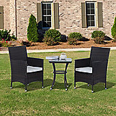 Outsunny 3PC Rattan Furniture Bistro Set Garden Table Chairs Brown
