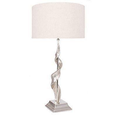 Decorative Aluminium Twist Sculpture Table Lamp Beige Fabric Shade