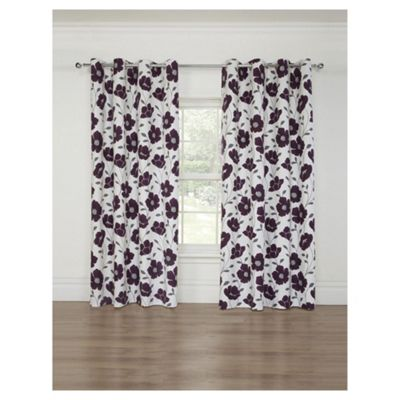 Poppy Print Lined Eyelet Curtains, Heather (66 x 54'')