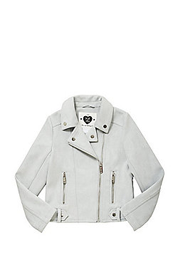 F&F Faux Suede Biker Jacket - Grey