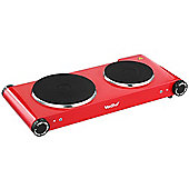 VonShef Premium Electrical Double Hot Plate in Red