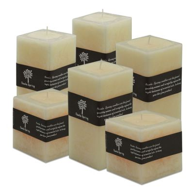 Vanilla Scented Square Candle, Set Of 6 Candles. Small, Medium & Large