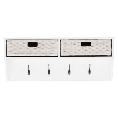 Buy Suffolk Storage Wall Shelf With Coat Hooks, White From Our