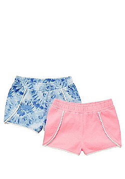 F&F 2 Pack of Tie Dye and Plain Shorts - Blue