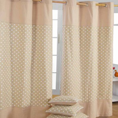 Homescapes Cotton Stars Beige Ready Made Eyelet Curtain Pair, 137 x 228 cm Drop