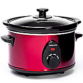 Andrew James Slow Cooker with 3 Heat Settings Removable Crockpot & Glass Lid - 1.5L - Red