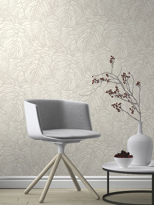 Leaf Pattern Wallpaper White and Silver Rasch 609325