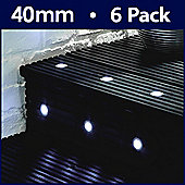MiniSun Pack of Six 40mm White LED Round Decking Lights