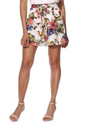 F&F Floral Tie Waist Shorts Multi 20