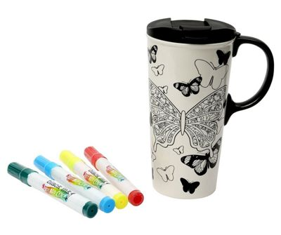 Dexam Just Add Colour Ceramic Travel Cup with Marker Pens, Butterfly Kisses