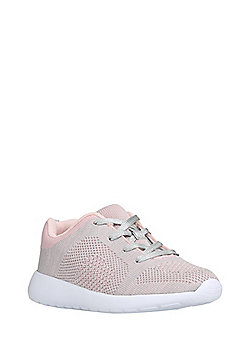 F&F Metallic Knit Trainers - Pink