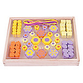 Bigjigs Toys Colourful Wooden Flower Bead Box - Arts and Crafts