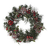 Red Bauble Christmas Wreath, 60cm