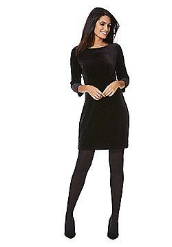 Vila Velour Bodycon Dress - Black