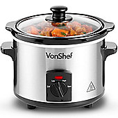 VonShef 1.5L Slow Cooker - Stainless Steel