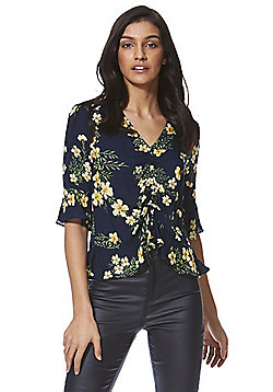 F&F Floral Ruched Front Blouse - Multi