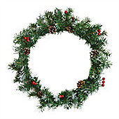 Harbour Housewares Traditional Christmas Door Wreath. Snow Tipped Green. Real Pine Cones