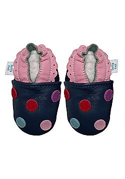Dotty Fish Soft Leather Baby Shoe - Navy Multicoloured Spotty Dotty - Navy
