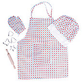 Bigjigs Toys Spotted Chef's Set for Children - Kids Cooking Apron and Chef's Hat