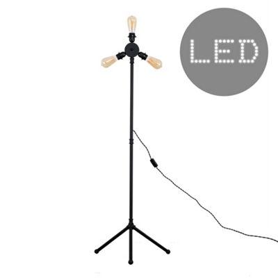 Irwin Steampunk LED Floor Lamp - Black