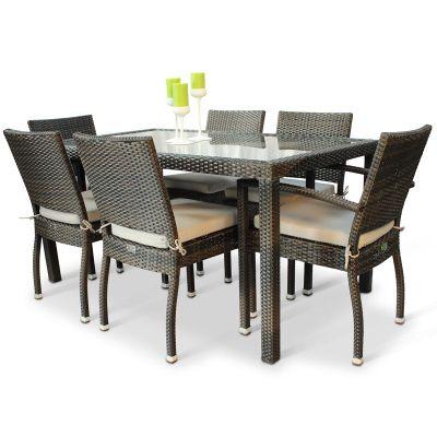 buy brackenstyle rectangular rattan dining set seats 6. Black Bedroom Furniture Sets. Home Design Ideas