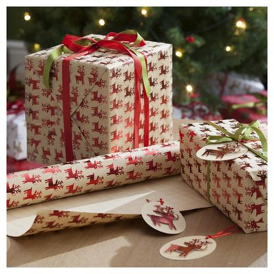 Buy Kraft Red Reindeer Christmas Wrapping Paper 3m From Our Christmas Wrapping Paper Range Tesco