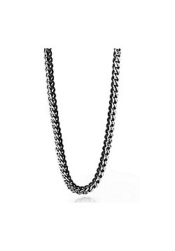 Mens Fred Bennett Black Plated Steel Box Link Necklace 60cm