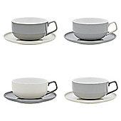 Set of 4 Retro Cup & Saucer Set