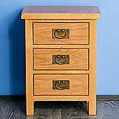 Surrey Oak 3 Drawer Bedside - Rustic Oak