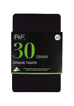 F&F 3 Pack of Opaque 30 Denier Tights - Black
