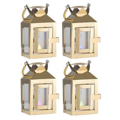 Set of 4 LED Hurricane Lantern Tea Light Holder & RGB Candles - Gold