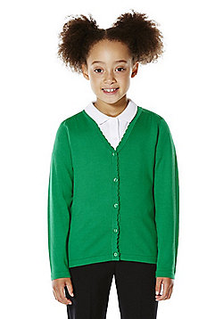 F&F School Girls Scallop Trim Cardigan with As New Technology - Emerald green