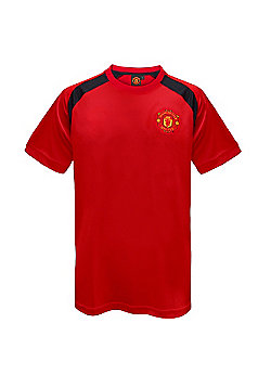 Manchester United FC Mens Poly T-Shirt - Red