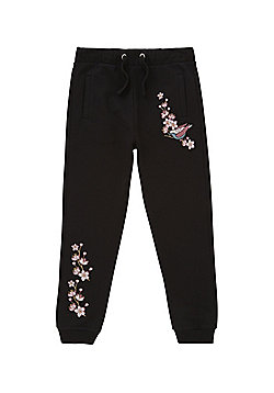 F&F Embroidered Joggers - Black