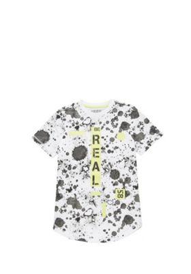 F&F Splatter Print Long Line T-Shirt Multi 10-11 years