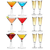 Plastic Cocktail Martini Glasses and Champagne Outdoor Flutes - Set of 12