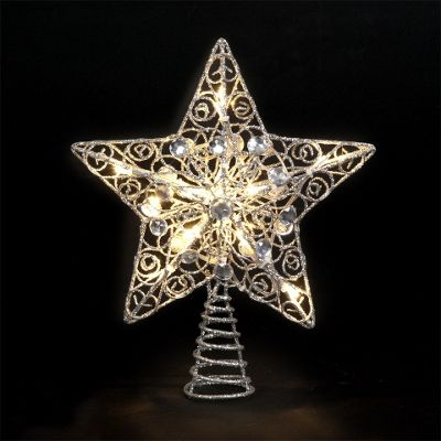 Buy 25cm Silver Star Tree Topper With 10 Battery Operated