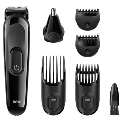 Braun MGK3020 Series 3 Mens 6 in One Hair, Face and Body Grooming Trimmer - Black