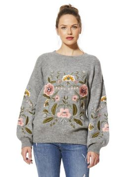 F&F Embroidered Bishop Sleeve Jumper - Grey