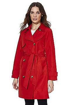 F&F Shower Resistant Trench Coat - Red