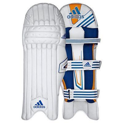 adidas CX11 Kids Cricket Batting Pads White/Blue - Left Hand Small Boys