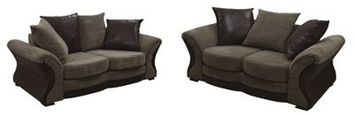Porto 3 seater + 2 Seater Sofa Jumbo Cord Fabric Brown