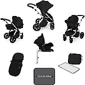 Ickle Bubba Stomp V3 AIO Isofix Travel System Black (Silver Chassis)