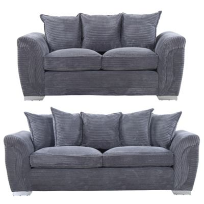 Sofa Collection Topeka Chenille Fabric 2 Seat Sofa - Grey
