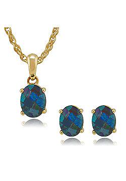 Gemondo 9ct Yellow Gold Triplet Opal Oval Stud Earrings & 45cm Necklace Set