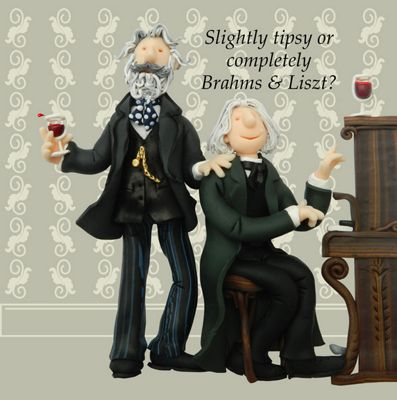 Holy Mackerel Greeting Card - Brahms & Liszt Birthday Greetings card