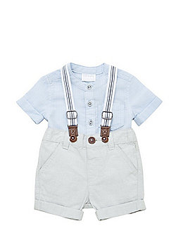 F&F Grandad Collar Shirt and Shorts with Braces Set - Blue & Grey