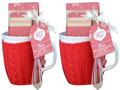 Festive Hot Chocolate Mug Gift Set with Jumper - Set of 2