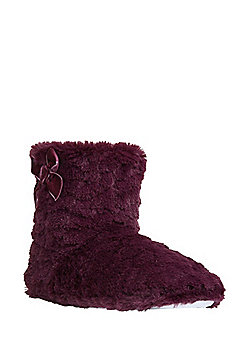 F&F Faux Fur Bootie Slippers - Burgundy